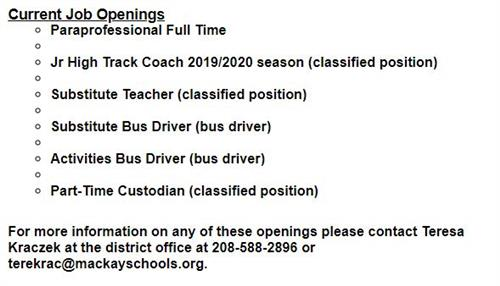 Current Job Openings Paraprofessional Full Time Jr High Track Coach 2019/2020 season (classified position) Substitute Teacher